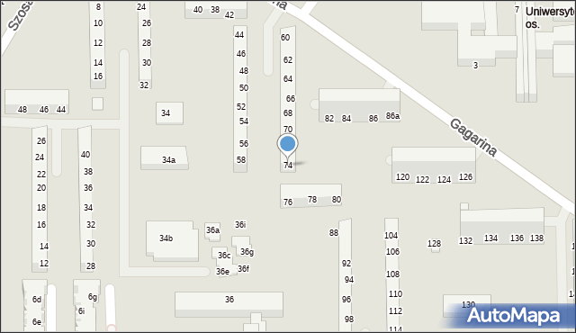 Toruń, Gagarina Jurija, 74, mapa Torunia
