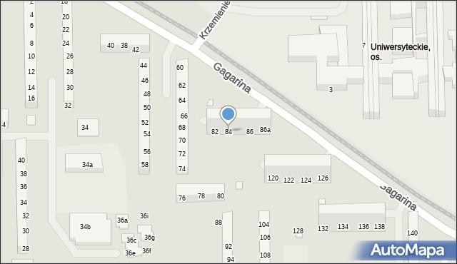 Toruń, Gagarina Jurija, 84, mapa Torunia