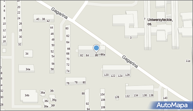 Toruń, Gagarina Jurija, 86, mapa Torunia