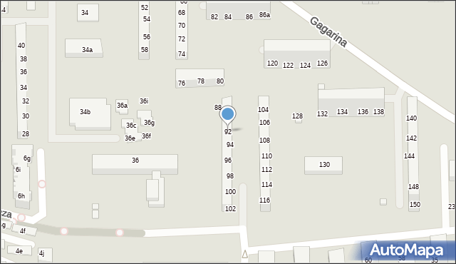 Toruń, Gagarina Jurija, 92, mapa Torunia