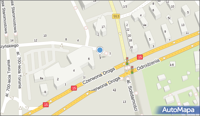 Toruń, Gałczyńskiego Konstantego Ildefonsa, 3, mapa Torunia