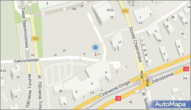 Toruń, Gałczyńskiego Konstantego Ildefonsa, 4, mapa Torunia