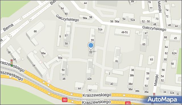 Toruń, Gałczyńskiego Konstantego Ildefonsa, 53, mapa Torunia
