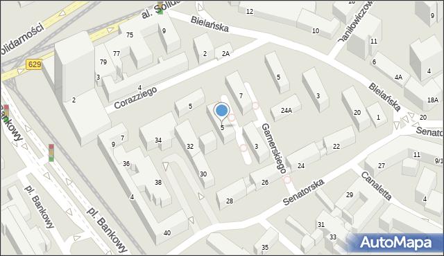 Warszawa, Gamerskiego Tylmana, 5, mapa Warszawy