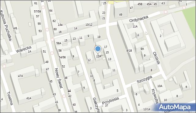 Warszawa, Gałczyńskiego Konstantego Ildefonsa, 12A, mapa Warszawy