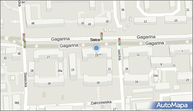 Warszawa, Gagarina Jurija, 13, mapa Warszawy