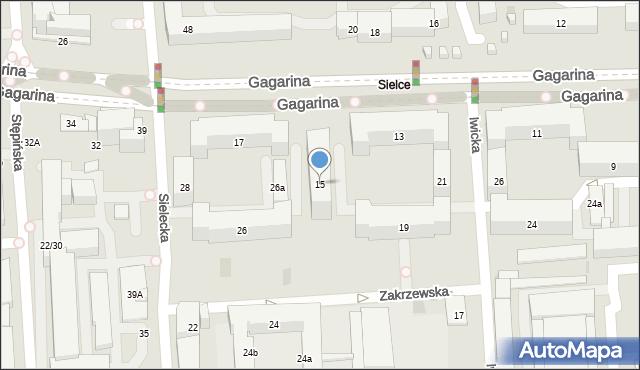 Warszawa, Gagarina Jurija, 15, mapa Warszawy