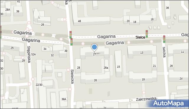Warszawa, Gagarina Jurija, 17, mapa Warszawy