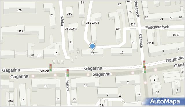 Warszawa, Gagarina Jurija, 12, mapa Warszawy