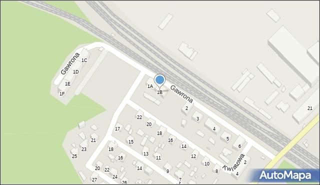 Zabrze, Gawrona Józefa, 1B, mapa Zabrza