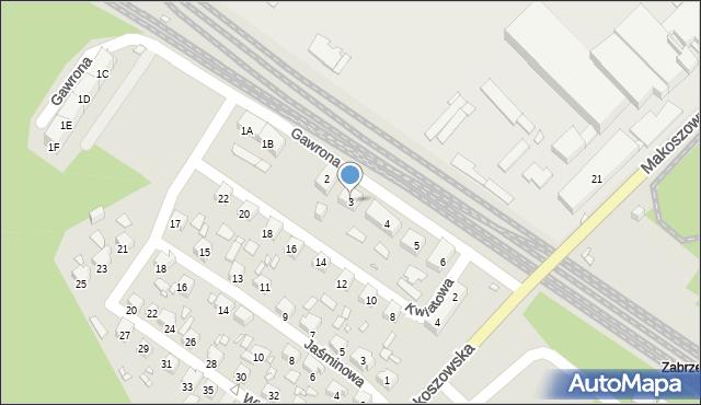Zabrze, Gawrona Józefa, 3, mapa Zabrza