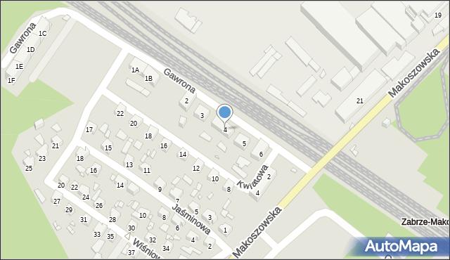 Zabrze, Gawrona Józefa, 4, mapa Zabrza