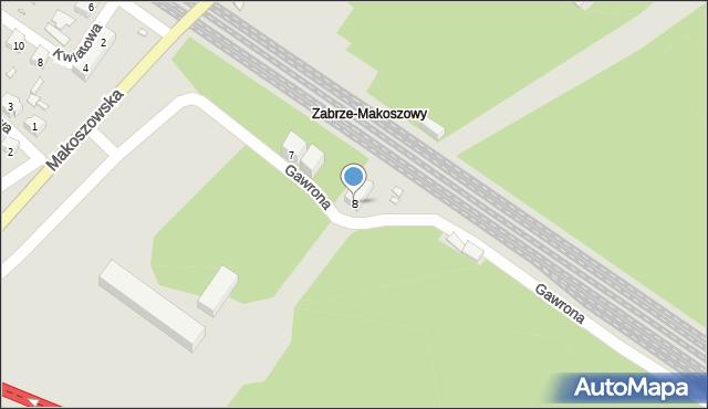 Zabrze, Gawrona Józefa, 8, mapa Zabrza