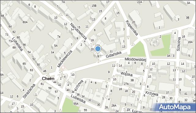 Chełm, Gdańska, 9, mapa Chełma