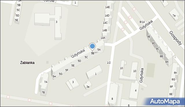 Gdańsk, Gdyńska, 5B, mapa Gdańska
