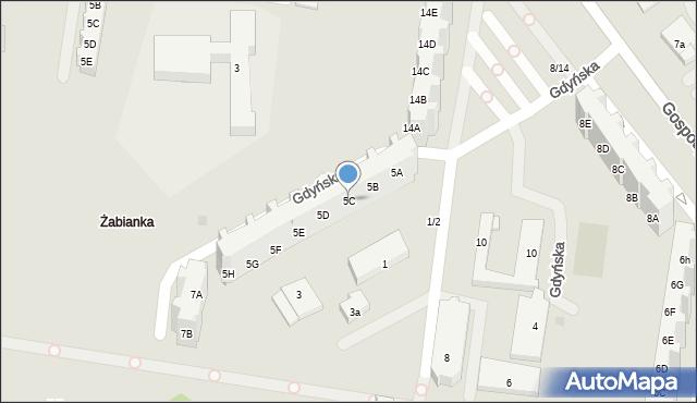 Gdańsk, Gdyńska, 5C, mapa Gdańska