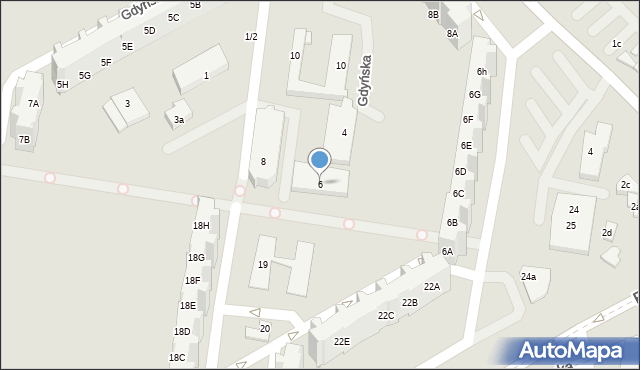 Gdańsk, Gdyńska, 6, mapa Gdańska