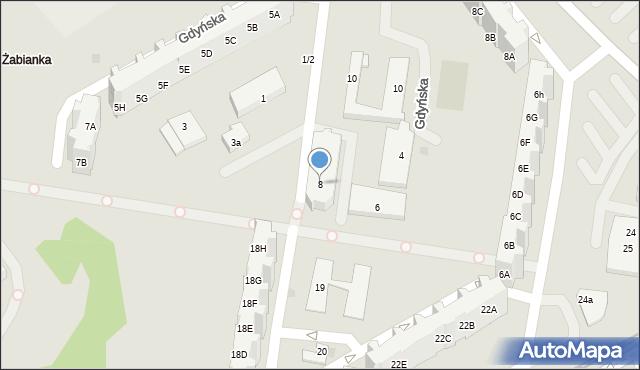 Gdańsk, Gdyńska, 8, mapa Gdańska