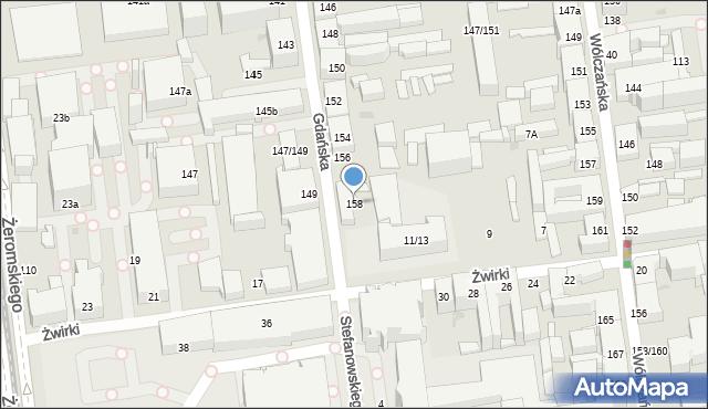 Łódź, Gdańska, 158, mapa Łodzi