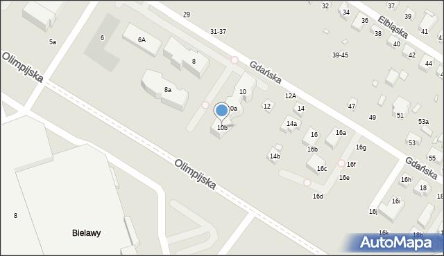 Toruń, Gdańska, 10b, mapa Torunia