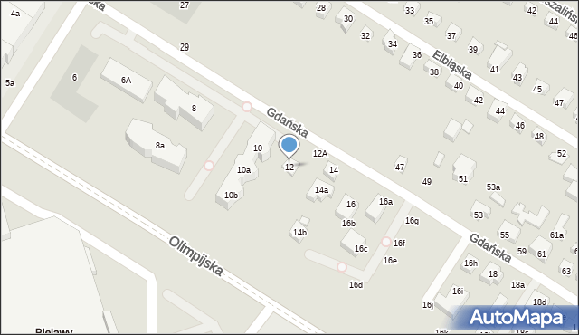 Toruń, Gdańska, 12, mapa Torunia