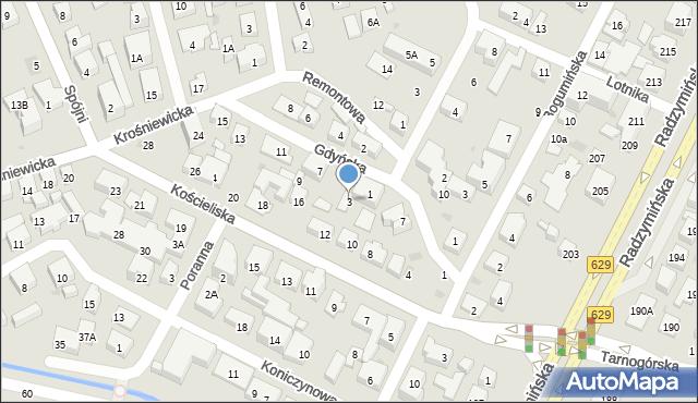 Warszawa, Gdyńska, 3, mapa Warszawy