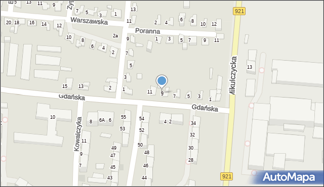 Zabrze, Gdańska, 9, mapa Zabrza