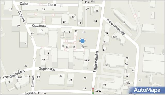 Łódź, Gęsia, 14, mapa Łodzi