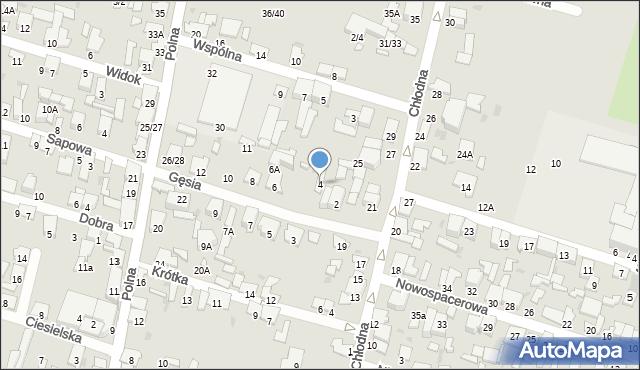 Radom, Gęsia, 4, mapa Radomia