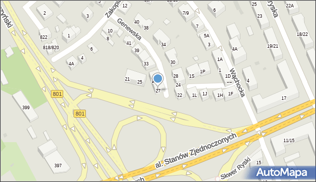Warszawa, Genewska, 27, mapa Warszawy