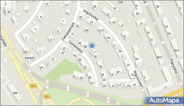 Warszawa, Genewska, 36, mapa Warszawy
