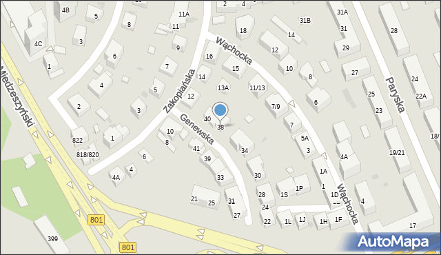 Warszawa, Genewska, 38, mapa Warszawy