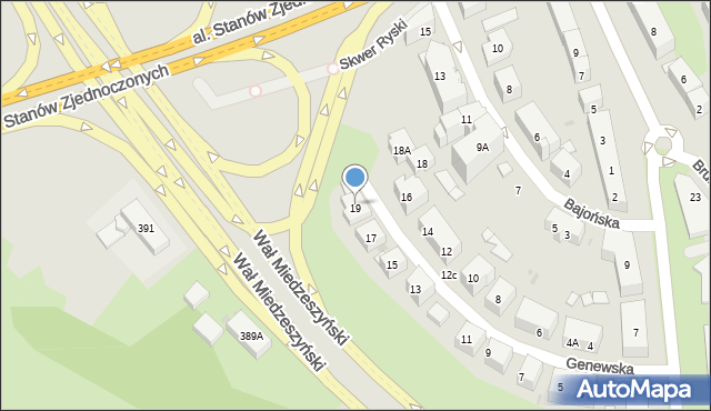 Warszawa, Genewska, 19A, mapa Warszawy