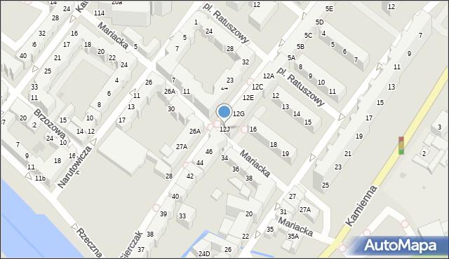 Kołobrzeg, Gierczak Emilii, 12J, mapa Kołobrzegu