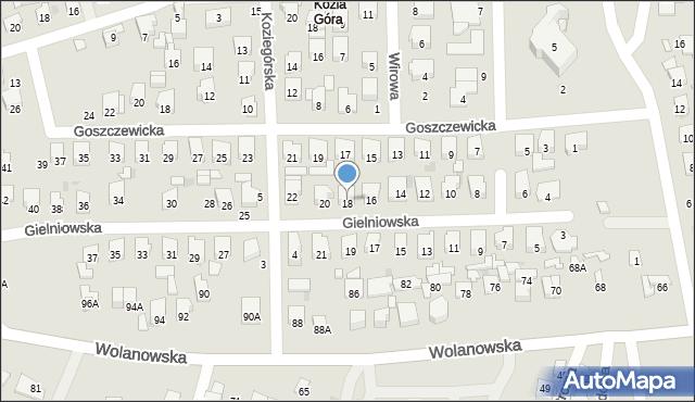 Radom, Gielniowska, 18, mapa Radomia