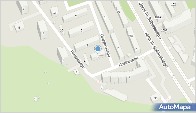 Warszawa, Gierymskiego Aleksandra, 1, mapa Warszawy