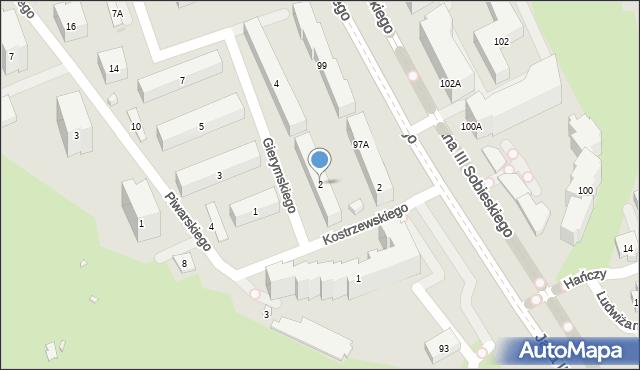 Warszawa, Gierymskiego Aleksandra, 2, mapa Warszawy