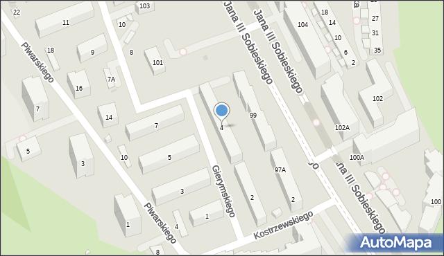 Warszawa, Gierymskiego Aleksandra, 4, mapa Warszawy