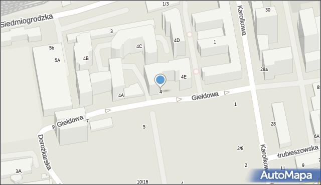 Warszawa, Giełdowa, 4, mapa Warszawy