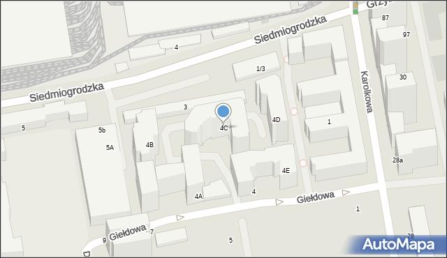 Warszawa, Giełdowa, 4C, mapa Warszawy