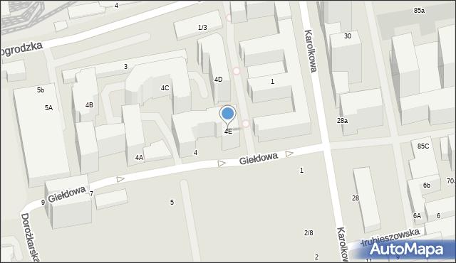 Warszawa, Giełdowa, 4E, mapa Warszawy