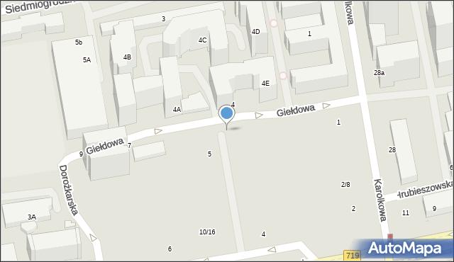 Warszawa, Giełdowa, 4u, mapa Warszawy