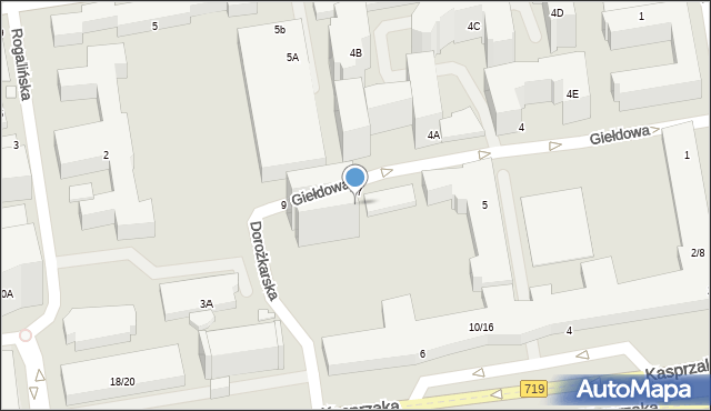 Warszawa, Giełdowa, 7/9, mapa Warszawy