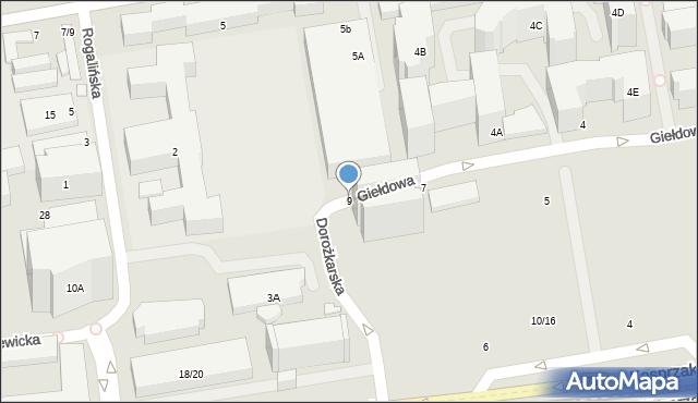 Warszawa, Giełdowa, 9, mapa Warszawy