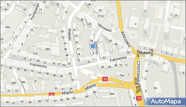 Bytom, Głęboka, 3, mapa Bytomia