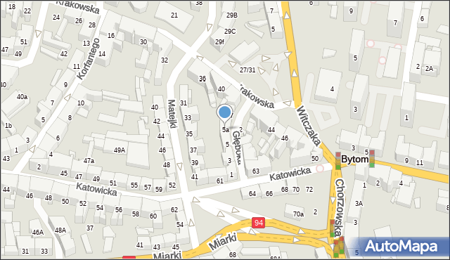 Bytom, Głęboka, 5a, mapa Bytomia