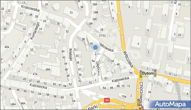 Bytom, Głęboka, 7, mapa Bytomia