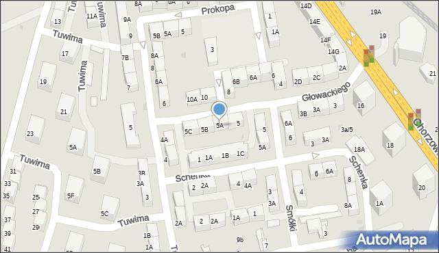 Bytom, Głowackiego Bartosza, 5A, mapa Bytomia