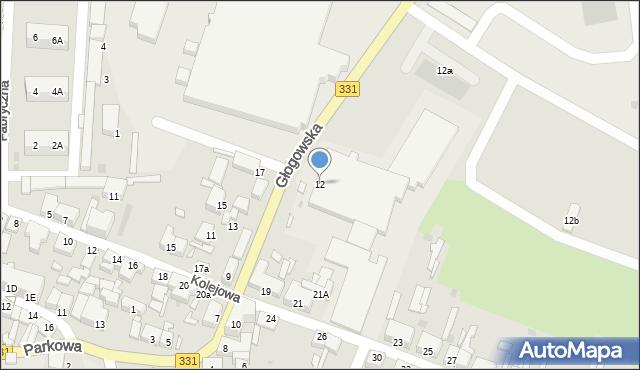Chocianów, Głogowska, 12, mapa Chocianów