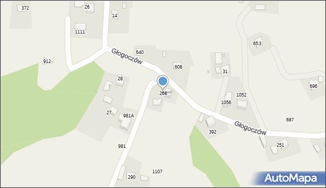 Głogoczów, Głogoczów, 268, mapa Głogoczów